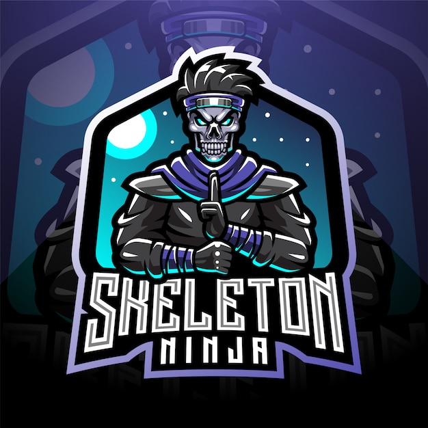 Skull ninja esport mascot logo