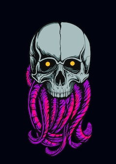 The skull of an octopus monster illustration
