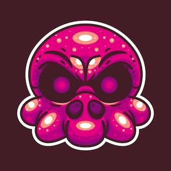 Череп осьминога, подходящий для персонажа, икона, логотипа, стикера и иллюстрации