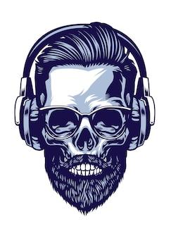 ヘッドフォンを身に着けているひげを生やしたヒップスターの頭蓋骨