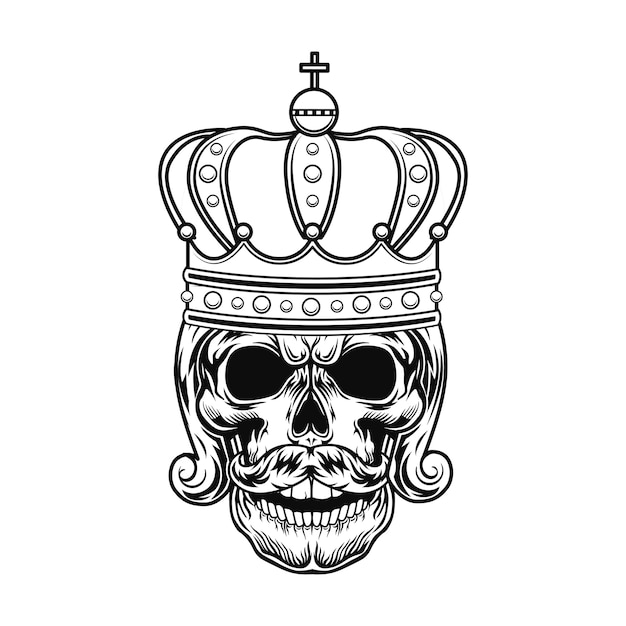 モナークベクトルイラストの頭蓋骨。髭、王室の髪型、王冠を持つ王または皇帝の頭