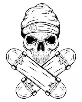 모자와 그림의 두 개의 교차 스케이트 보드와 스케이팅의 두개골