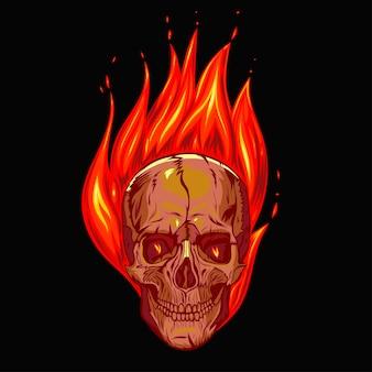 黒の背景に火の頭蓋骨