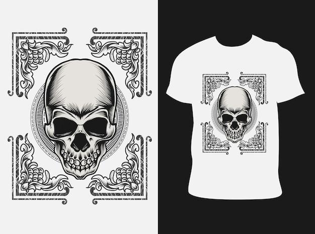 Tシャツのデザインと飾り炎の頭蓋骨