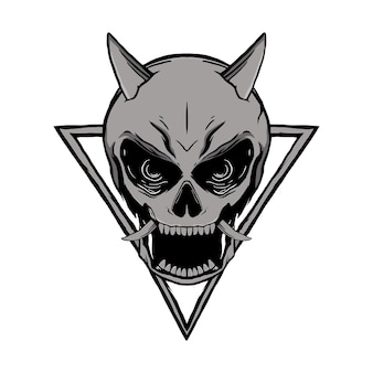 Tshirt에 대한 해골 onimask ilustration 디자인