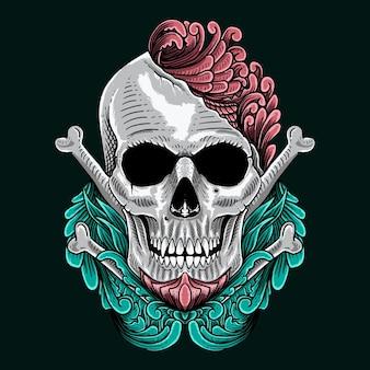 Skull ornament flower isolated