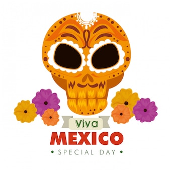 Skull ornamental decoration with flowers for mexico event
