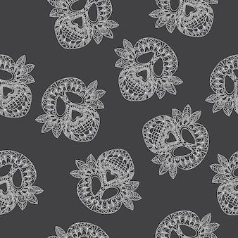 Skull ornamental pattern - seamless background - vector illustration