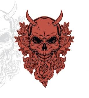 Skull outline illustration, skull vector