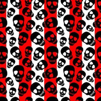 Skull pattern on a striped background