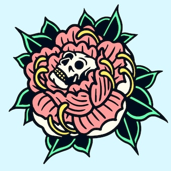 Skull peony old school tattoo illustration