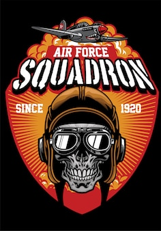 Skull pilot air force squadron design