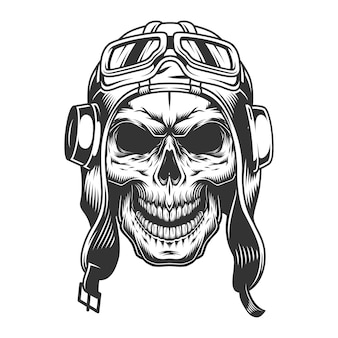 Skull in the pilot helmet