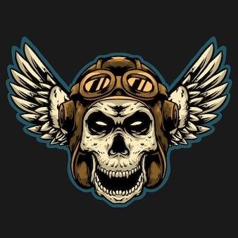 ビンテージヘルメットマスコットデザインロゴ付きスカルパイロット