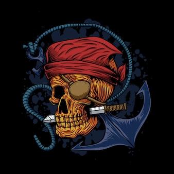 Skull pirate anchor illustration