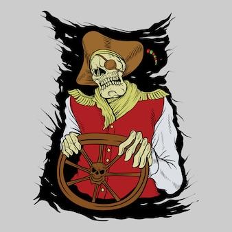 Skull pirate, drawing