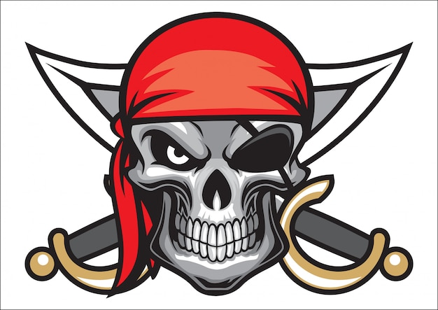 Skull pirate head with crossed sword