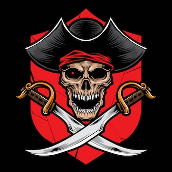 Skull pirate with sword vector