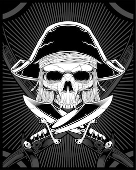 Skull pirate with sword