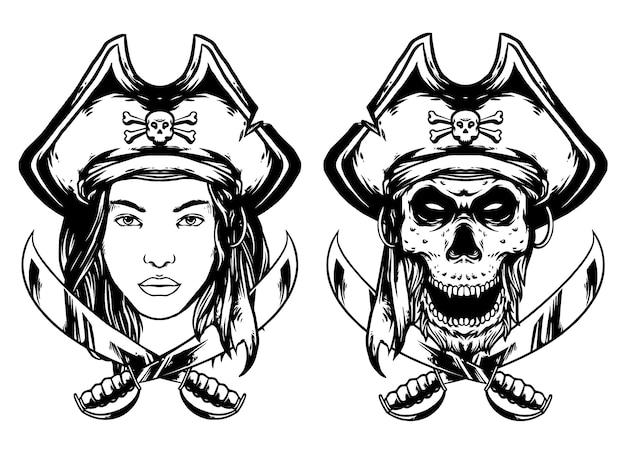 Череп пираты и леди пираты дизайн