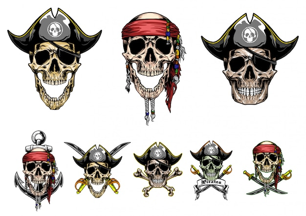 Skull pirates vector set