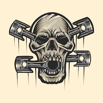 Skull and piston illustration light background