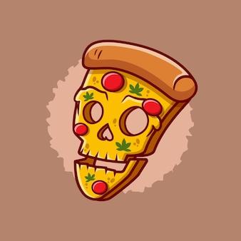 Череп пицца хэллоуин иллюстрации шаржа. концепция значка еды хэллоуина. плоский мультяшный стиль premium векторы
