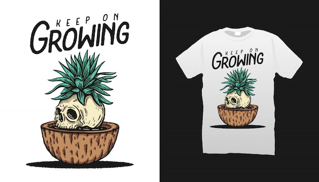 Skull and plant illustration tshirt design