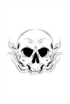 Skull and plant vector illustration