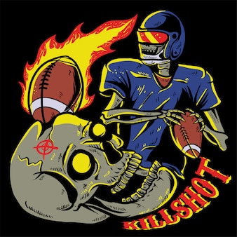 Skull playing american football illustration