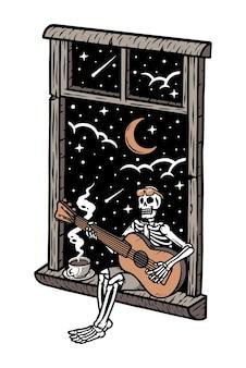 밤 그림 창에서 기타를 연주하는 해골