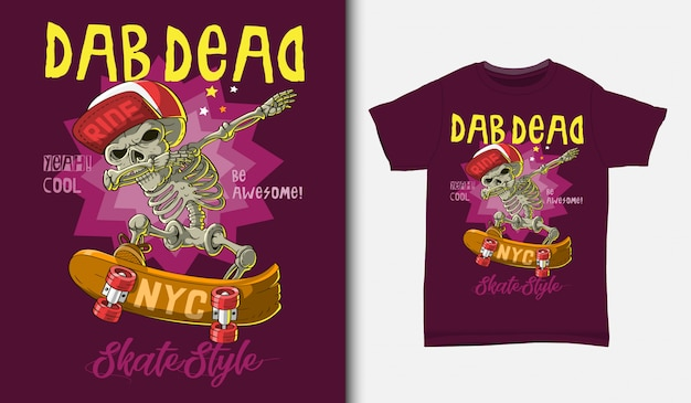 Skull playing skateboard with t-shirt design, hand drawn