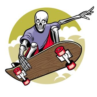 Skull playing skateboard