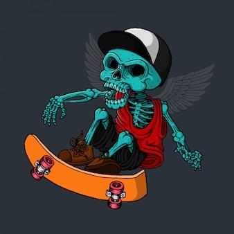 Skull playing skateboarding