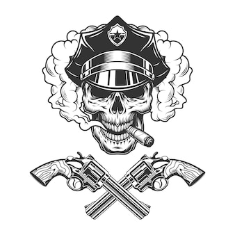 Skull in police hat smoking cigar
