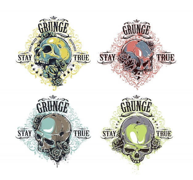 Skull prints set
