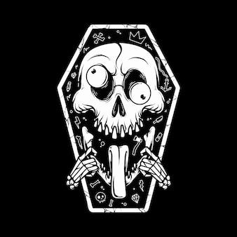 Skull put tongue out  illustration