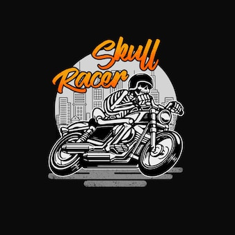 Skull racer classic vintage motorcycle