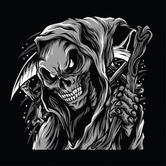 Череп жнец черно-белая иллюстрация