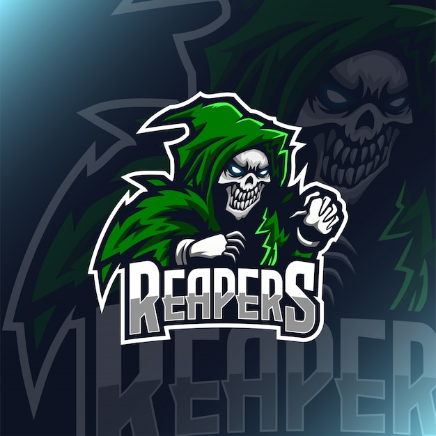 Skull reaper  illustration logo mascot