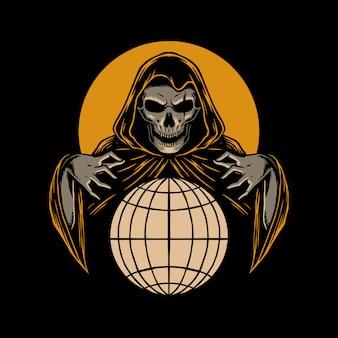 Skull reaper illustration