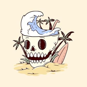 頭蓋骨レトロイラスト