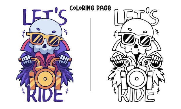 A skull ride a gold motorcycle
