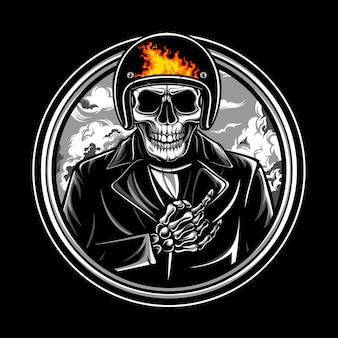 Skull ride logo emblem