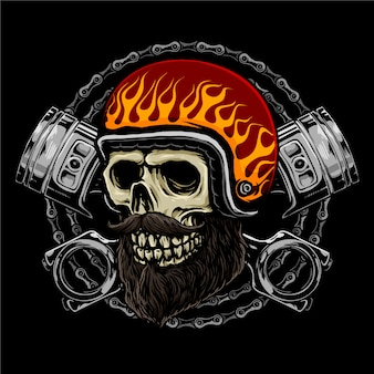 Skull rider motorcycle with retro helmet, pistons and chains background