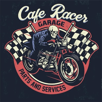 Skull riding cafe racer motocycle in vintage design