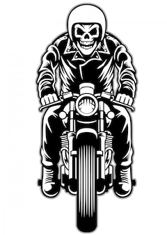 Skull riding a cafe racer motorcycle style