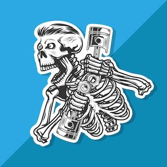 頭蓋骨が轟音を上げてエンジンピストンを運びます。ステッカー