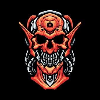 Skull robot head illustration