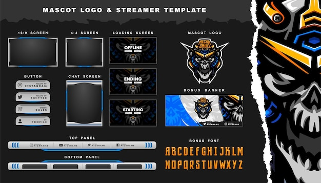 Skull robot mascot logo and twitch streamer overlay template